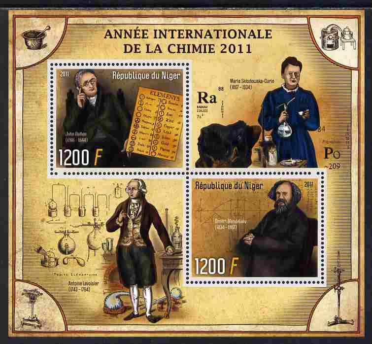 Niger Republic 2012 International Year of Chemistry perf sheetlet containing 2 values unmounted mint