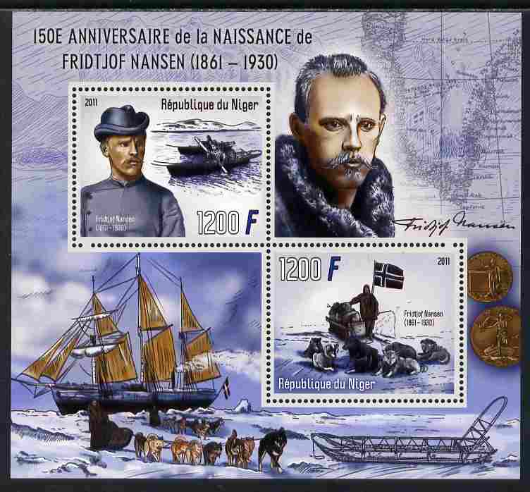 Niger Republic 2012 150th Birth Anniversary of Fridtjof Nansen perf sheetlet containing 2 values unmounted mint