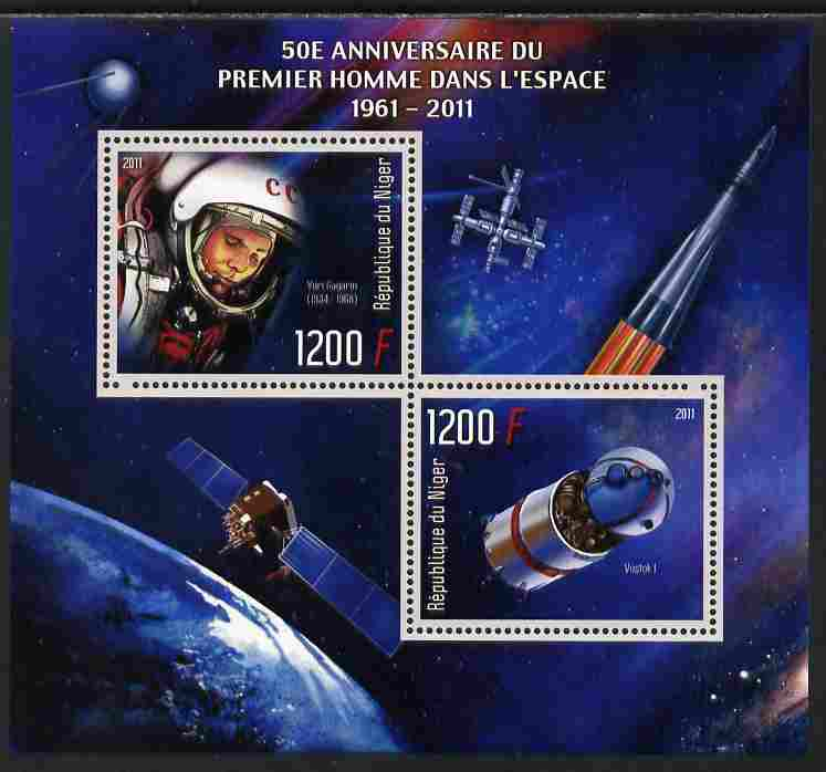 Niger Republic 2012 50th Anniversary of First Man in Space (Yuri Gagarin) perf sheetlet containing 2 values unmounted mint
