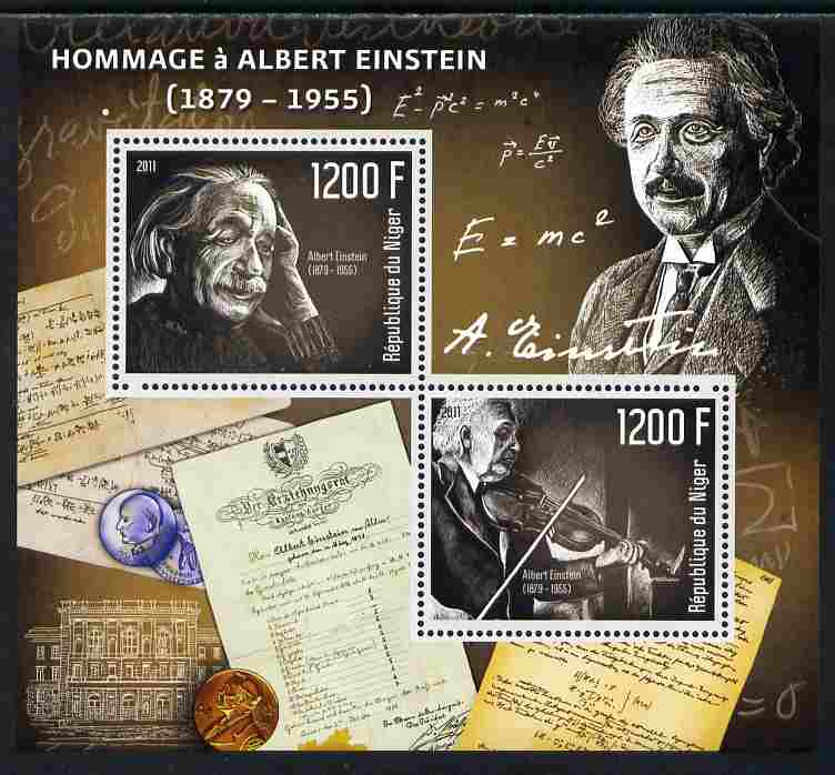 Niger Republic 2012 Albert Einstein Commemoration perf sheetlet containing 2 values unmounted mint