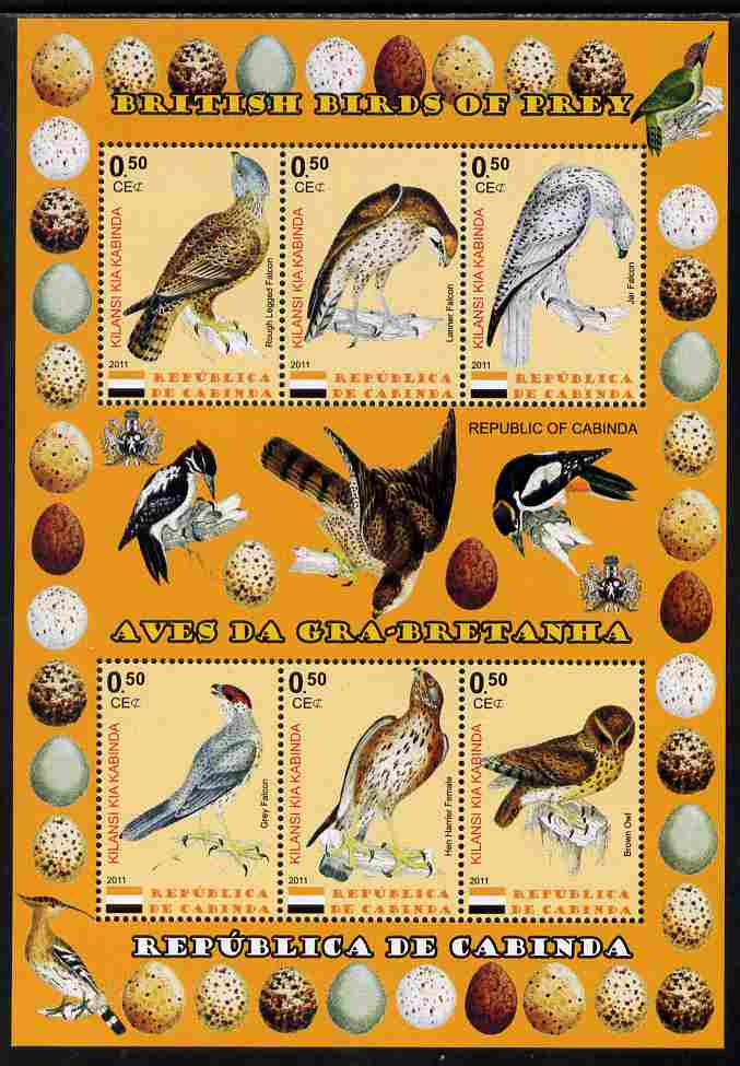 Cabinda Province 2011 British Birds of Prey #1 perf sheetlet containing 6 values unmounted mint