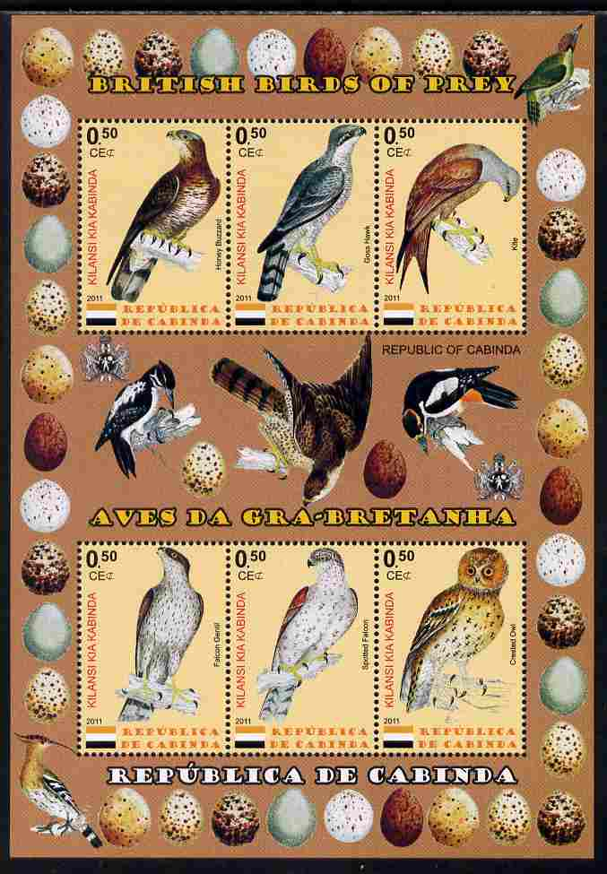 Cabinda Province 2011 British Birds of Prey #2 perf sheetlet containing 6 values unmounted mint