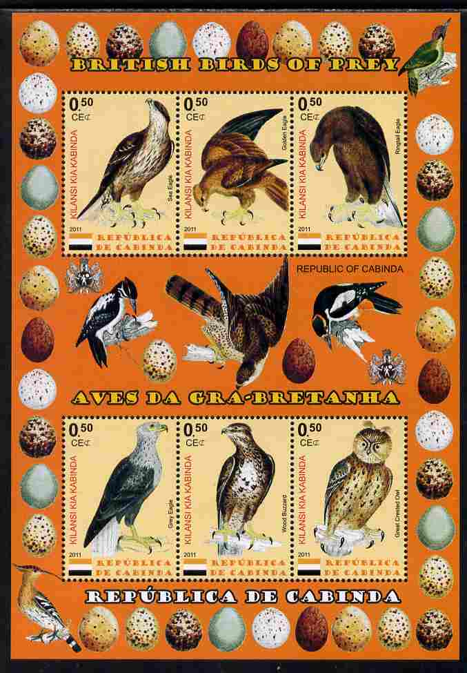 Cabinda Province 2011 British Birds of Prey #3 perf sheetlet containing 6 values unmounted mint