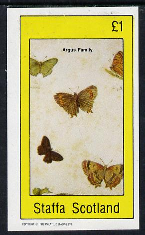Staffa 1982 Butterflies (Argus Family) imperf souvenir sheet (�1 value)  unmounted mint