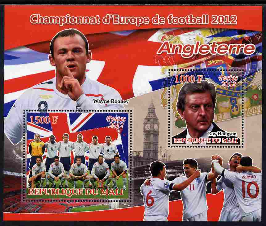 Mali 2012 European Footbal Championship - England large perf s/sheet containing 2 values unmounted mint