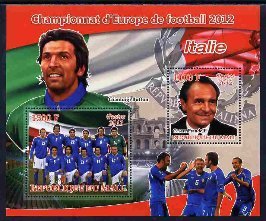Mali 2012 European Footbal Championship - Italy large perf s/sheet containing 2 values unmounted mint