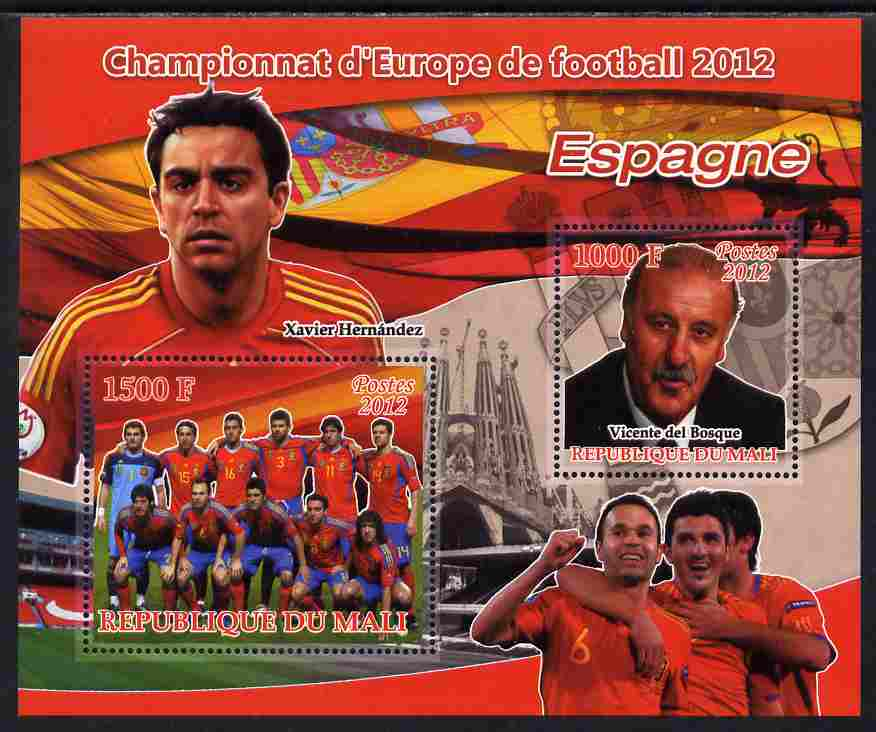 Mali 2012 European Footbal Championship - Spain large perf s/sheet containing 2 values unmounted mint