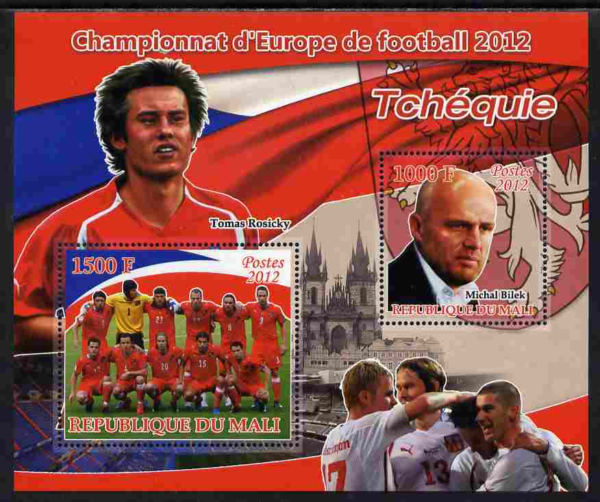 Mali 2012 European Footbal Championship - Czech Republic large perf s/sheet containing 2 values unmounted mint