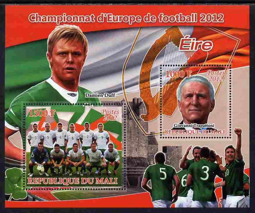 Mali 2012 European Footbal Championship - Ireland large perf s/sheet containing 2 values unmounted mint