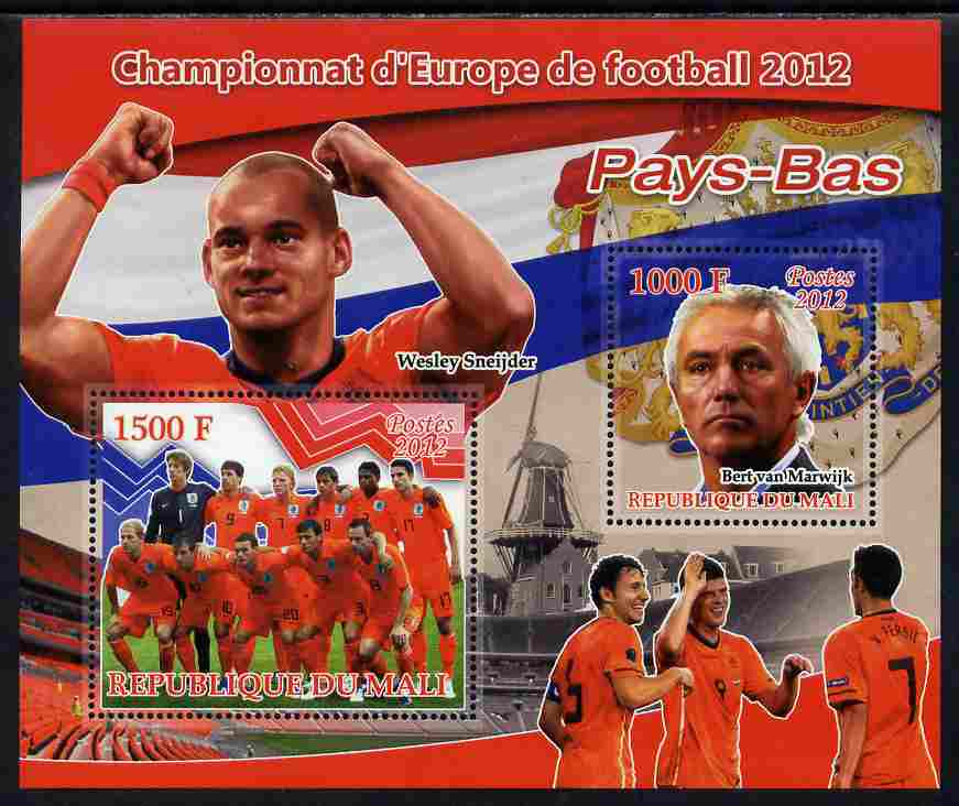 Mali 2012 European Footbal Championship - Netherlands large perf s/sheet containing 2 values unmounted mint