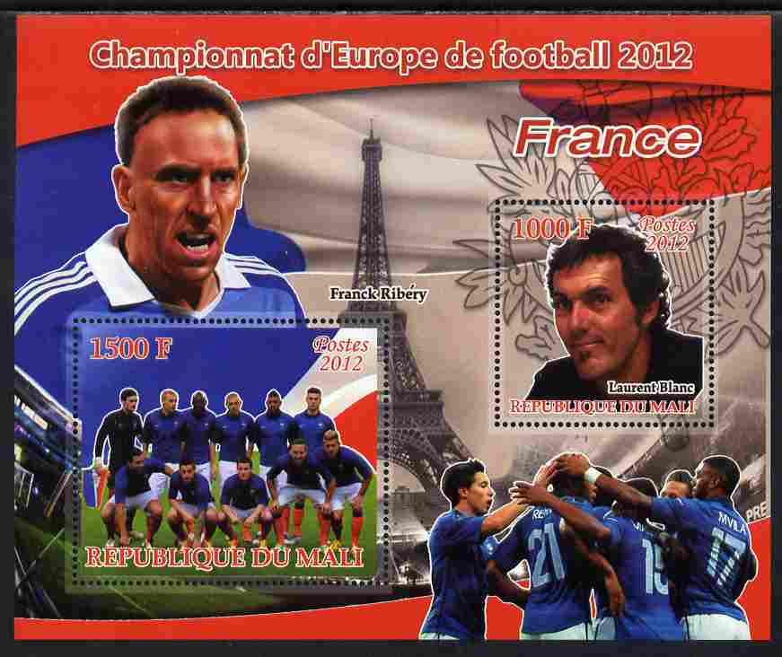 Mali 2012 European Footbal Championship - France large perf s/sheet containing 2 values unmounted mint