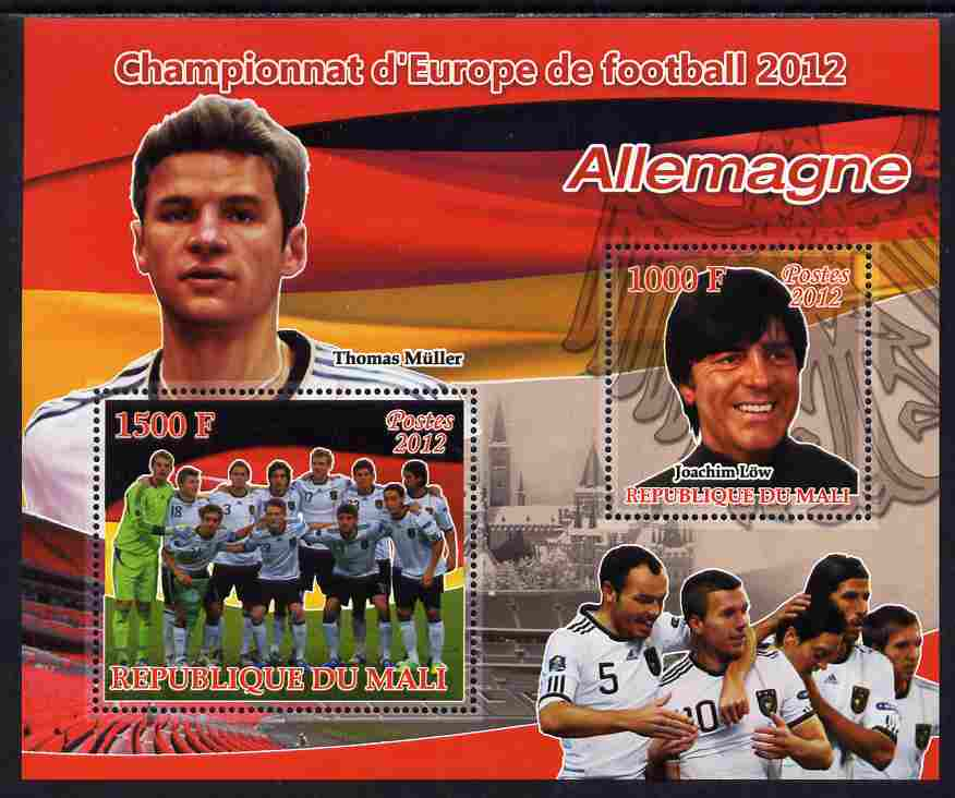 Mali 2012 European Footbal Championship - Germany large perf s/sheet containing 2 values unmounted mint