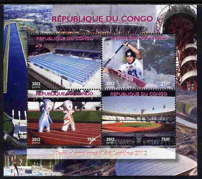 Congo 2012 London Olympic Games perf sheetlet containing 4 values unmounted mint. Note this item is privately produced and is offered purely on its thematic appeal