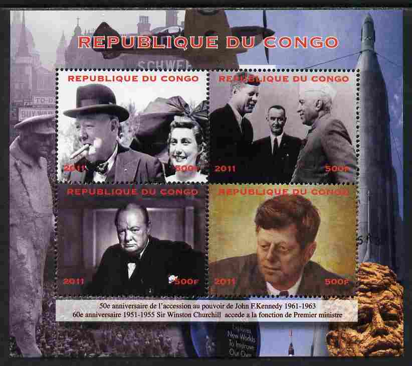 Congo 2012 Churchill & Kennedy perf sheetlet containing 4 values unmounted mint. Note this item is privately produced and is offered purely on its thematic appeal