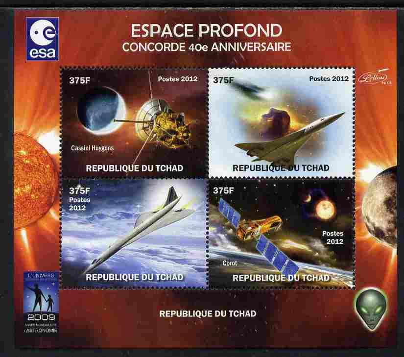 Chad 2012 Concorde 40th Anniversary - Deep Space perf sheetlet containing 4 values unmounted mint. Note this item is privately produced and is offered purely on its thematic appeal.