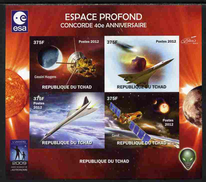 Chad 2012 Concorde 40th Anniversary - Deep Space imperf sheetlet containing 4 values unmounted mint. Note this item is privately produced and is offered purely on its the...