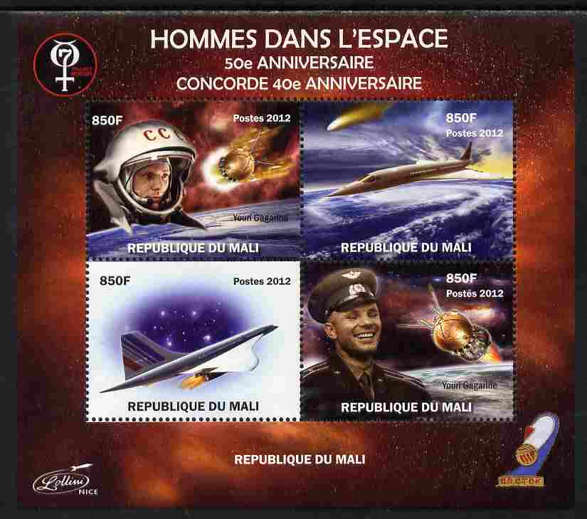 Mali 2012 Concorde 40th Anniversary - Men in Space perf sheetlet containing 4 values unmounted mint. Note this item is privately produced and is offered purely on its thematic appeal