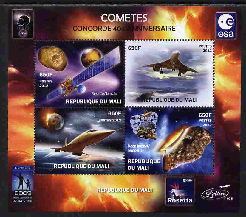 Mali 2012 Concorde 40th Anniversary - Comets perf sheetlet containing 4 values unmounted mint. Note this item is privately produced and is offered purely on its thematic appeal