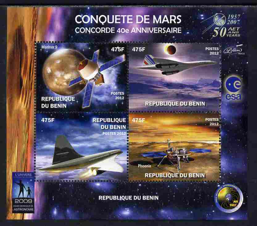 Benin 2012 Concorde 40th Anniversary - Conquest of Mars perf sheetlet containing 4 values unmounted mint. Note this item is privately produced and is offered purely on its thematic appeal