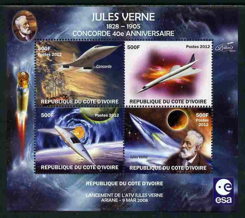 Ivory Coast 2012 Concorde 40th Anniversary - Jules Verne perf sheetlet containing 4 values unmounted mint. Note this item is privately produced and is offered purely on its thematic appeal