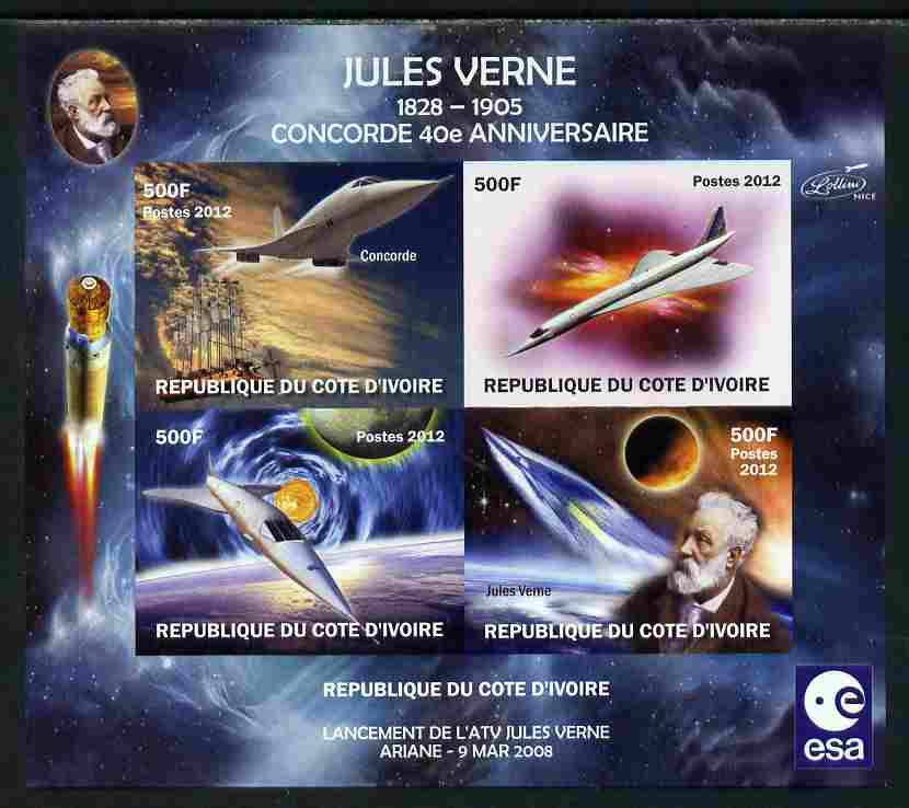 Ivory Coast 2012 Concorde 40th Anniversary - Jules Verne imperf sheetlet containing 4 values unmounted mint . Note this item is privately produced and is offered purely on its thematic appeal, it has no postal validity