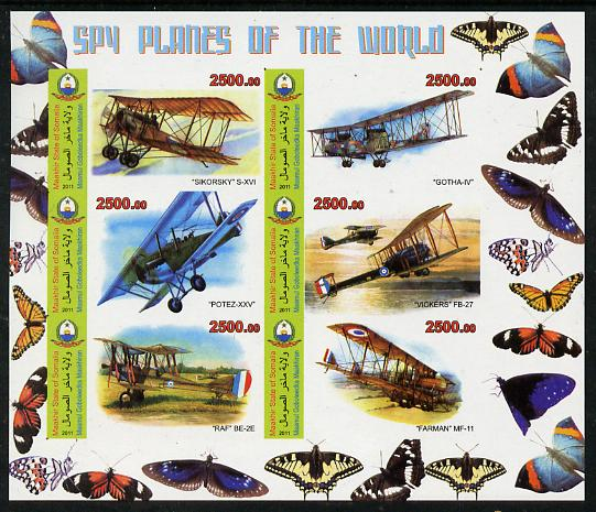 Maakhir State of Somalia 2011 Spy Planes of the World #1 imperf sheetlet containing 6 values (Butterflies in margins) unmounted mint