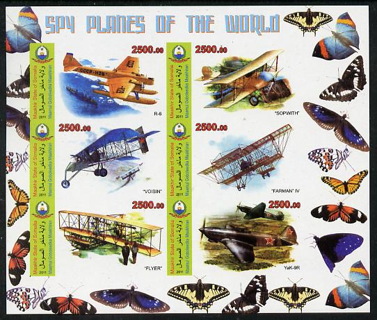 Maakhir State of Somalia 2011 Spy Planes of the World #2 imperf sheetlet containing 6 values (Butterflies in margins) unmounted mint