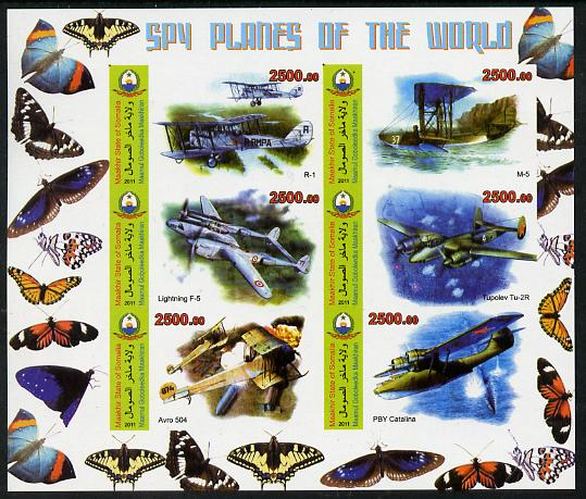 Maakhir State of Somalia 2011 Spy Planes of the World #3 imperf sheetlet containing 6 values (Butterflies in margins) unmounted mint