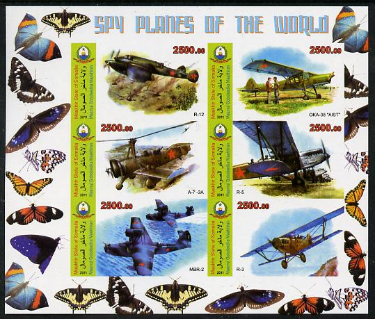 Maakhir State of Somalia 2011 Spy Planes of the World #4 imperf sheetlet containing 6 values (Butterflies in margins) unmounted mint