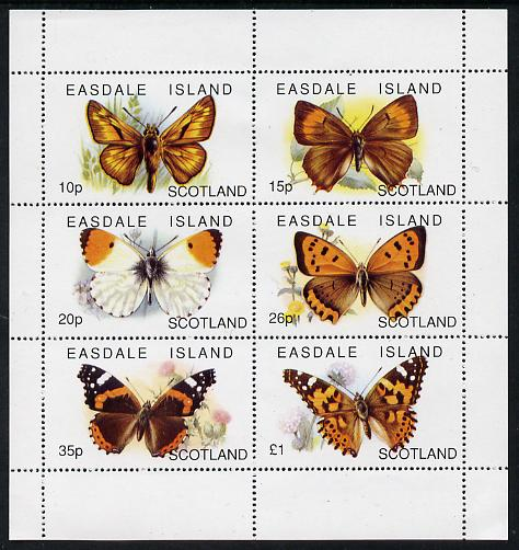 Easdale 1996 Butterflies perf sheetlet containing set of 6 values unmounted mint