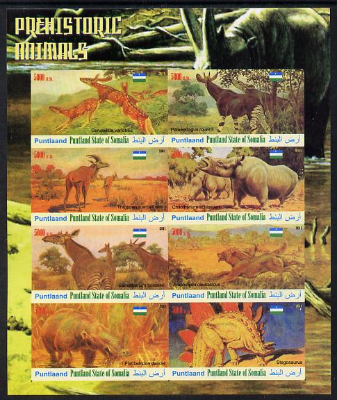 Maakhir State of Somalia 2011 Pre-historic Animals #2 imperf sheetlet containing 8 values unmounted mint