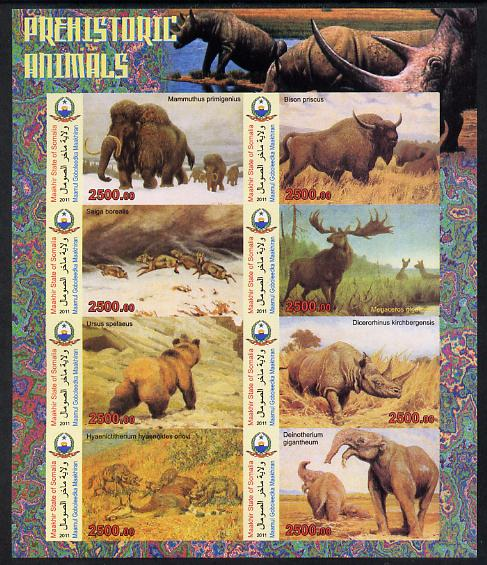 Maakhir State of Somalia 2011 Pre-historic Animals #3 imperf sheetlet containing 8 values unmounted mint