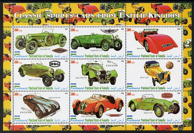 Puntland State of Somalia 2010 Classic Sports Cars of United Kingdom #1 perf sheetlet containing 9 values unmounted mint