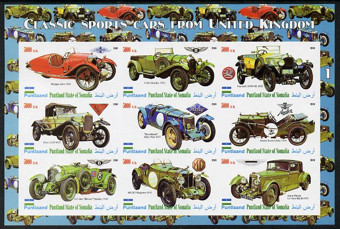 Puntland State of Somalia 2010 Classic Sports Cars of United Kingdom #2 imperf sheetlet containing 9 values unmounted mint