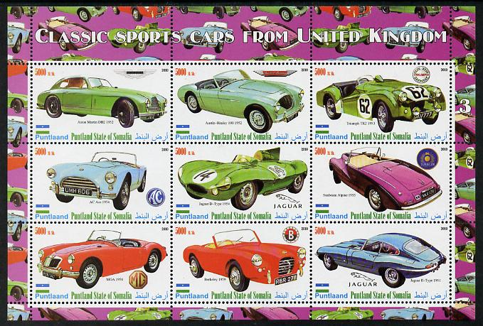 Puntland State of Somalia 2010 Classic Sports Cars of United Kingdom #3 perf sheetlet containing 9 values unmounted mint