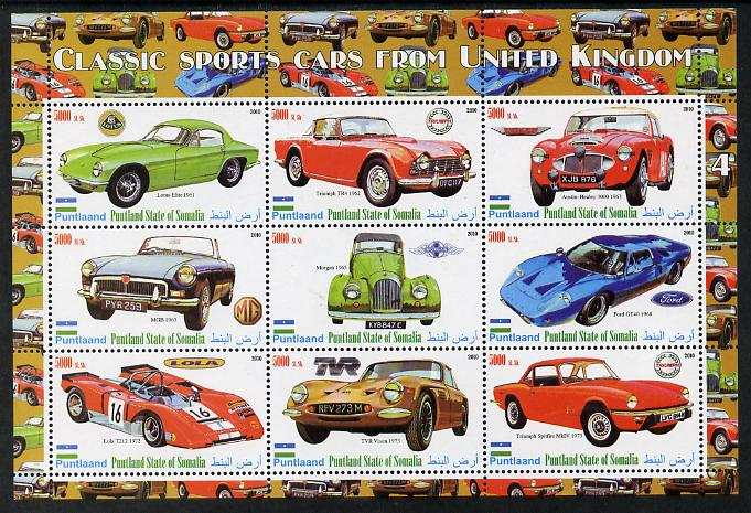 Puntland State of Somalia 2010 Classic Sports Cars of United Kingdom #4 perf sheetlet containing 9 values unmounted mint