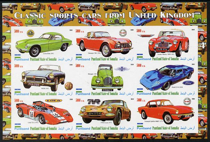 Puntland State of Somalia 2010 Classic Sports Cars of United Kingdom #4 imperf sheetlet containing 9 values unmounted mint