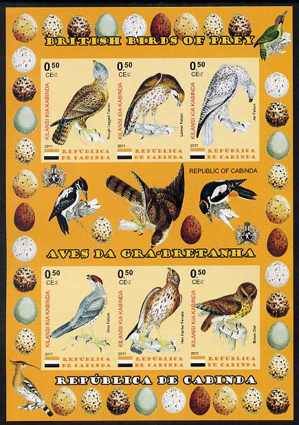 Cabinda Province 2011 British Birds of Prey #1 imperf sheetlet containing 6 values unmounted mint