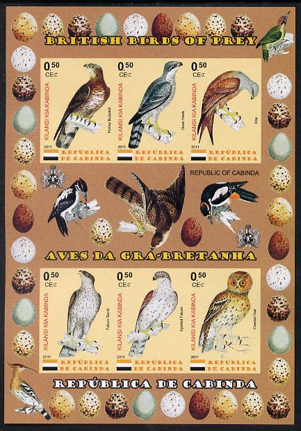 Cabinda Province 2011 British Birds of Prey #2 imperf sheetlet containing 6 values unmounted mint