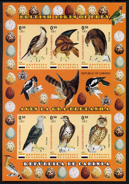 Cabinda Province 2011 British Birds of Prey #3 imperf sheetlet containing 6 values unmounted mint