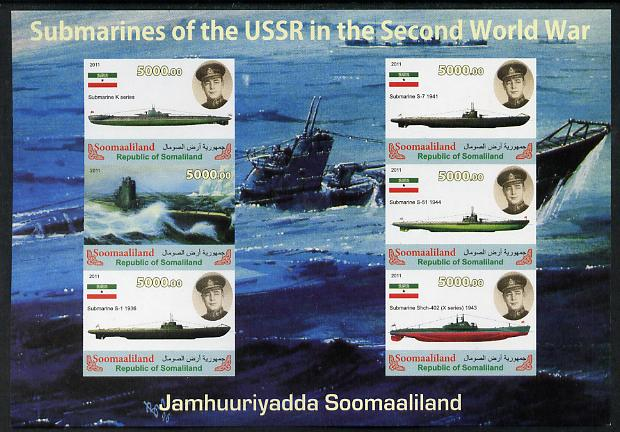 Somaliland 2011 Russian Submarines of Second World War #1 imperf sheetlet containing 6 values unmounted mint