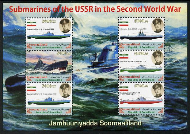 Somaliland 2011 Russian Submarines of Second World War #2 perf sheetlet containing 6 values unmounted mint