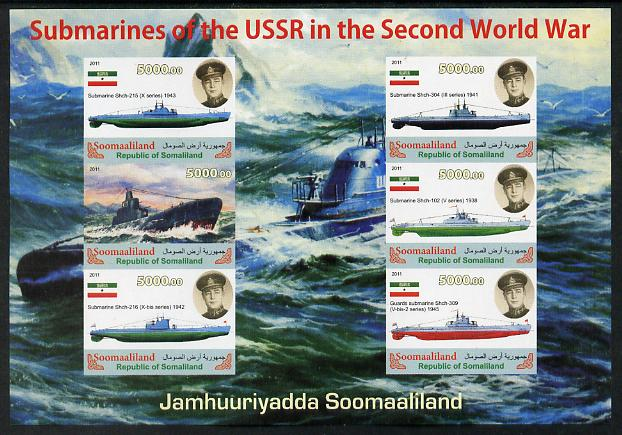 Somaliland 2011 Russian Submarines of Second World War #2 imperf sheetlet containing 6 values unmounted mint