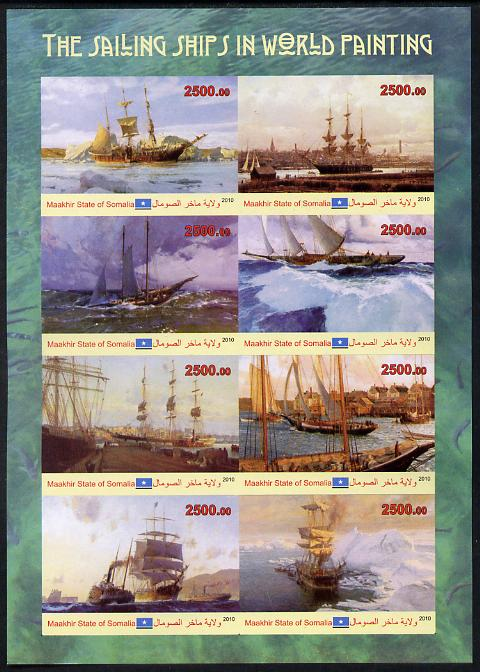 Maakhir State of Somalia 2010 Paintings of Sailing Ships imperf sheetlet containing 8 values unmounted mint