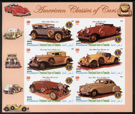Puntland State of Somalia 2010 Classic Cars of America #1 imperf sheetlet containing 6 values with Lions Int Logo unmounted mint