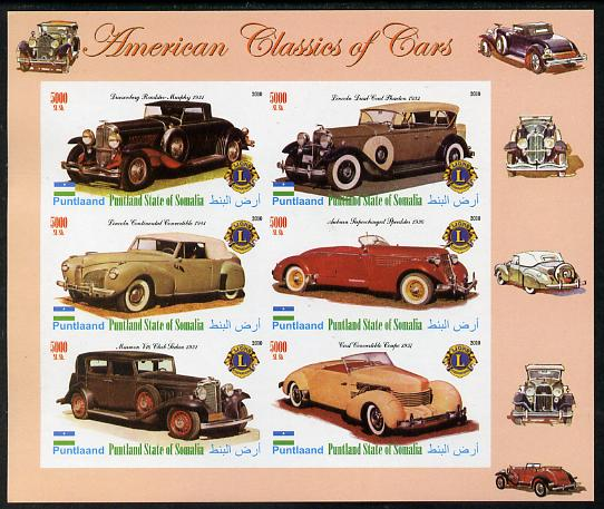 Puntland State of Somalia 2010 Classic Cars of America #2 imperf sheetlet containing 6 values with Lions Int Logo unmounted mint