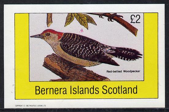 Bernera 1982 Birds #20 (Red Bellied Woodpecker) imperf deluxe sheet (�2 value) unmounted mint