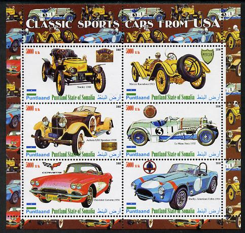 Puntland State of Somalia 2010 Classic Sports Cars of USA perf sheetlet containing 6 values unmounted mint