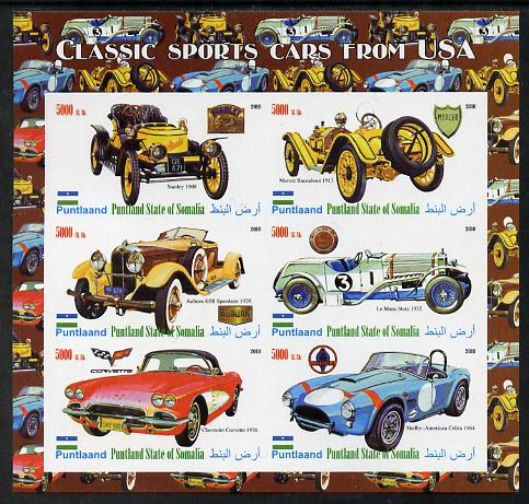 Puntland State of Somalia 2010 Classic Sports Cars of USA imperf sheetlet containing 6 values unmounted mint