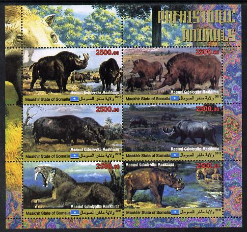 Maakhir State of Somalia 2011 Pre-historic Animals #6 perf sheetlet containing 6 values unmounted mint